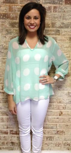 Mint Polka Dot Top $60 <3 Pinned from Bella's Boutique <3 #Mint #Polka #Dot #White #Karlie