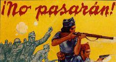 """Manifesto delle forze repubblicane con il motto """"No pasaràn!"""" coniato da Dolores Ibàrruri."""