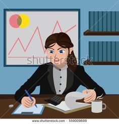 Illustration Accountant Woman Work on Table with pen, paper, and calculator . Flat Design Vector