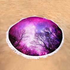 "Black Trees Pink Space Round Beach Towel by Johari Smith.  The beach towel is 60"" in diameter and made from 100% polyester fabric."