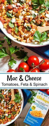 Mac & Käse mit Tomaten, Feta & Spinat