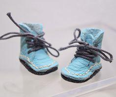 Blythe: handgemachte Leder Schuhe - Boots hellblau