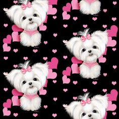 Maltese Black and  hearts fabric by catiacho on Spoonflower - custom fabric