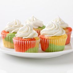 Bring some psychedelic fun to your next gathering with Tie-Dye Fruity Cupcakes. Tie-Dye Fruity Cupcakes are almost as fun to look at as they are to eat. Kraft Foods, Kraft Recipes, Quick Recipes, Köstliche Desserts, Delicious Desserts, Yummy Food, Easter Desserts, Dessert Healthy, Cupcake Recipes