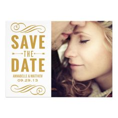 Vintage Typography Save the Date Announcement #wedding #savethedate
