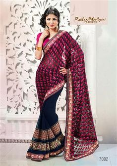 """A fascinating combination of navy blue with cherry pink Brasso (pallu) and navy blue georgette patti. The horizontal patti stich patta design giving out the latest trendy look to any woman at her every valuable occasion. The golden foil touch on the Brasso (pallu) adds to the overall look, touch and feel of the Saree . truly describing a taste i.e""""Fashion with Tradition."""" *Blouse included (Unstiched)."""