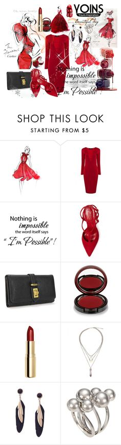 """My red night"" by merima-musanovic ❤ liked on Polyvore featuring Mollie Parnis, Jean-Michel Cazabat, Kevyn Aucoin, H&M, women's clothing, women, female, woman, misses and juniors"