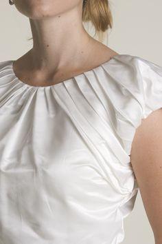 wedding dress - modest -high cut, beautiful seams