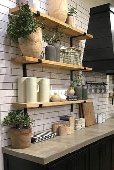 Rustic Shelf with L Brackets, Fixer Upper Style Industrial Shelf, Kitchen Shelf, Farmhouse Open Shelving, secure flat iron bracket - Wooden Shelves Kitchen, Kitchen Shelf Decor, Rustic Shelves, Rustic Kitchen, New Kitchen, Kitchen Dining, Wood Shelf, Open Shelving In Kitchen, Fixer Upper Kitchen
