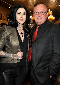 Dad von D & Kat Von D attends Sephora's VIP preview party for Kat Von D's New American Beauty art show at Wonderland Gallery on February 2, 2012 in West Hollywood, California