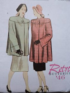 Items similar to Flared Lined Coat Retro Fashion Butterick Uncut Factory Folded PATTERN Sz. Sewing Patterns For Kids, Cool Patterns, Vintage Sewing Patterns, Retro Fashion, Vintage Fashion, Women's Fashion, Raggedy Ann And Andy, Costume Patterns, Stitch Design