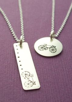 SALE - Bicycle Necklace in Sterling Silver - Hand Stamped Charm Necklace by EWD - Petite, Minimal Jewelry. $20.25, via Etsy.