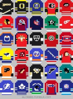 look at how some NHL jerseys would look in 8-bit,Nintendo-like form ...