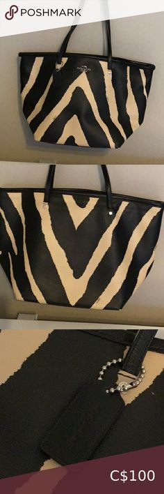 Coach Zebra Print Purse 100 % Authentic Coach Zebra Print Purse Very Good Condition 9/10 Used once Coach Bags Totes New Coach Handbags, Coach Tote Bags, Coach Satchel, Gold Handbags, Michael Kors Designer, Michael Kors Tote, Brown Leather Totes, Dark Brown Leather, Black Coach Purses