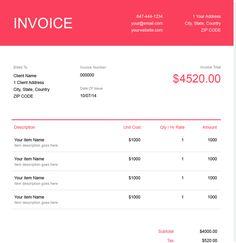 Download a Interior Design Invoice Template