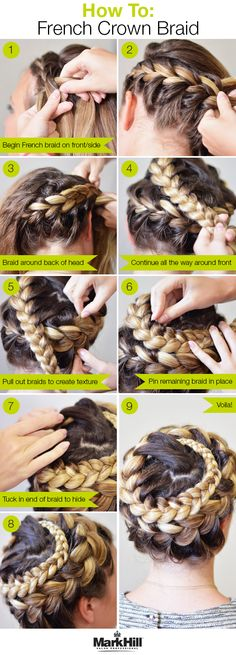 We started with Mark Hill Texturizing Polish and finished with Fabulous Finish hairspray to add just the right amount of hold to this intricate-looking French braid.