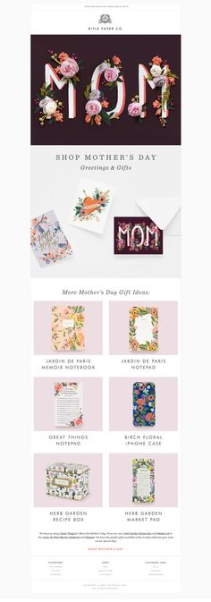 Email design | Mother's Day | Rifle Paper Co. Email Marketing Design, Email Design, Invitation Cards, Invitations, Nina Shoes, Rifle Paper Co, Gifts For Mom, Greeting Cards, Iphone Cases