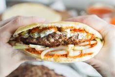 Pljeskavica - Traditional Serbian Burger Recipe - - Forget about fast food chain places and make yourself a real burger. This big Serbian guy is bursting with flavor! Burger Recipes, Meat Recipes, Dinner Recipes, Cooking Recipes, Holiday Recipes, Bosnian Recipes, Croatian Recipes, Hungarian Recipes, Bosnian Food