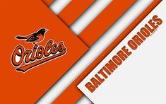 Download wallpapers Baltimore Orioles, MLB, 4k, orange-white abstraction, logo, material design, baseball, Baltimore, Meryland, USA, Major League Baseball