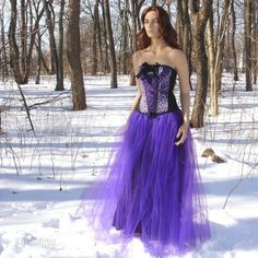 Gothic Royal Purple Formal Length Tulle Skirt all sizes MTCoffinz.via Etsy.