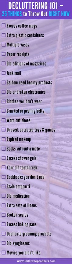 Checklist of 25 things to throw out for decluttering your home