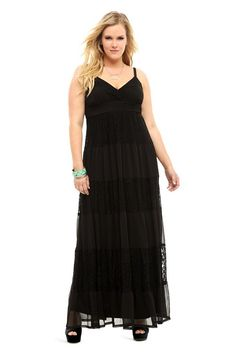 Black Chiffon & Lace Maxi Dress | Dresses