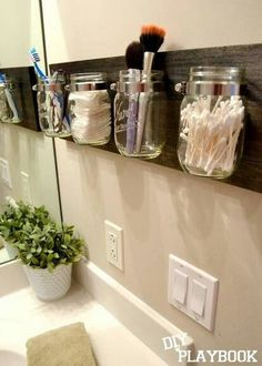 Clever way to store makeup using Mason jars and a little ingenuity! #storagesolutions #storage