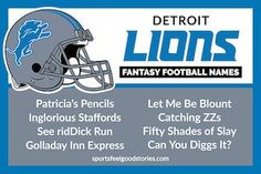 Funny Fantasy Football Team Names Detroit Lions: Funny, Clever, Creative, Good, Best and Awesome! Cool Fantasy Football Names, Fantasy Team Names, Fantasy Football League Names, Football Team Names, 32 Nfl Teams, Football Icon, Nfl Championships, Feel Good Stories, True Stories