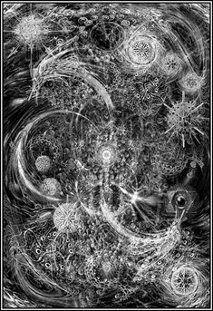 Yog-sothoth is the key.  Yog-sothoth is the gate.  Yog-sothoth is the key and the gate.--Dunwhich Horror (Lovecraft) quote as Wilbur reads from Necronomicon.  My fav old one.  (Artwork John Coulthart?) Love this representation.