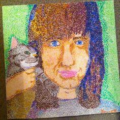 Oil pastel stippling self portrait