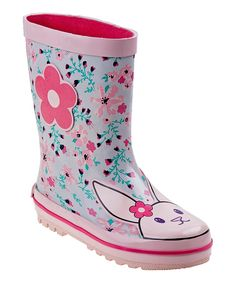 Take a look at this Pink & Aqua Floral Rain Boot today!