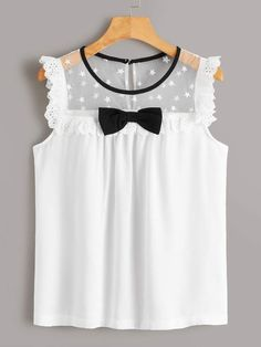To find out about the Bow Front Contrast Eyelet Embroidery Yoke Blouse at SHEIN, part of our latest Blouses ready to shop online today! Mode Outfits, Girl Outfits, Casual Outfits, Cute Blouses, Blouses For Women, Baby Girl Dresses, Baby Dress, Blouse Designs, Fashion News