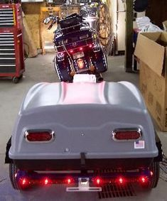 Home-built motorcycle trailer Motorcycle Cargo Trailer, Pull Behind Motorcycle Trailer, Pull Behind Trailer, Bike Trailer, Motorcycle Camping, Cargo Trailers, Small Motorcycles, Custom Motorcycles, Trans Am