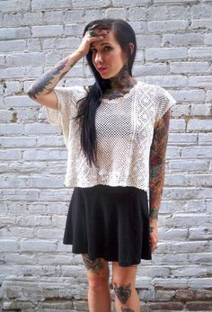 Cropped lace shirt in cream crochet  Small  sheer lacy by miscusi, $26.00