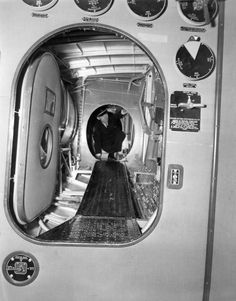 The walkway through the wing of the Boeing B-314 Clipper flying boat. A bit cramped, but this access way allowed the flight engineer to service and even repair a malfunctioning engine in flight, if needs be.