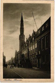 Alkmaar-Stadhuis-old-b-w-postcard-posted-1926.