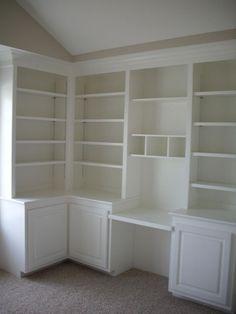 built-in shelves and desk