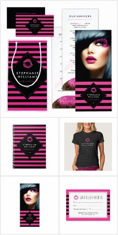 Chic Pink and Black Stripes MUA  Branding Products