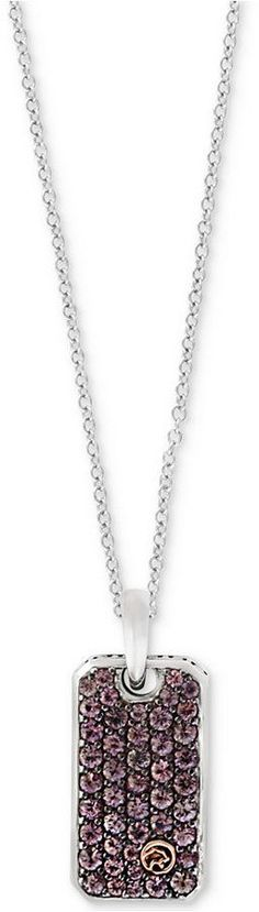 Effy Men's Brown Sapphire Dog Tag Pendant Necklace (1-1/3 ct. t.w.) in Sterling Silver & 18k Gold