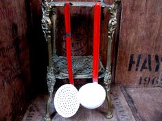 French Enamelware, Vintage Enamel, Vintage Ladle, Slotted Spoon, French Country…