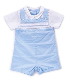 Look at this Petit Ami Blue Zigzag Smocked Layered Romper - Infant on #zulily today!