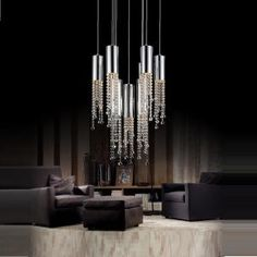 CWI Lighting Extended Chrome Chandelier - The Home Depot High Ceiling Lighting, Ceiling Light Fixtures, Modern Lighting, Ceiling Lights, Lighting Ideas, Linear Chandelier, Chandelier Lighting, Dining Lighting, Chandeliers