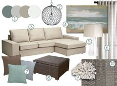 mood board: cool, neutral earth tones with a definite coastal vibe.  Kivik couch and Chaise (in Dansbo Beige) | Home - Living Room  | Mood Boards, E… #coastallivingroomsbrowncouch