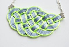 SALE 20 OFF  Grey and Chartreuse Satin Cords by elfinadesign, $22.00