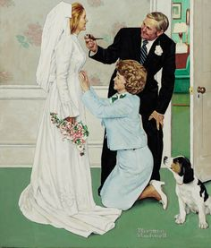 """""""BRIDE TO BE"""" By: Norman Rockwell, Oil on canvas, 38 x 32 inches."""