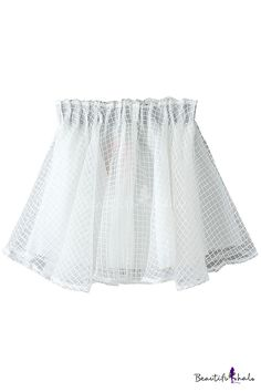 Plain Plaid Organza Elastic Waist Mini Skirt - Beautifulhalo.com