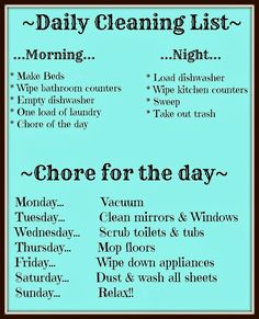 68 Ideas Daily Cleaning Schedule For Kids Chore Charts Spring cleaning, spring cleaning checklist, how Daily Cleaning Lists, House Cleaning Checklist, Household Cleaning Tips, Diy Cleaning Products, Cleaning Hacks, Weekly Chore List, Clean Kitchen Checklist, Spring Cleaning Tips, Weekly House Cleaning