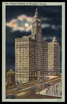 Chicago Illinois Wrigley building linen vintage postcard
