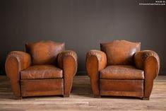 French Club Chairs by William's Antiks | WA26-32 Royal Mustache Pair of Leather French Club Chairs | 1