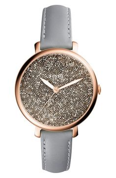 Free shipping and returns on Fossil Jacqueline Leather Strap Watch, 36mm at Nordstrom.com. A minimalist, numberless dial is encrusted with a bevy of shiny crystals and beads for glamorous caviar texture on this smooth polished watch with a svelte leather strap.